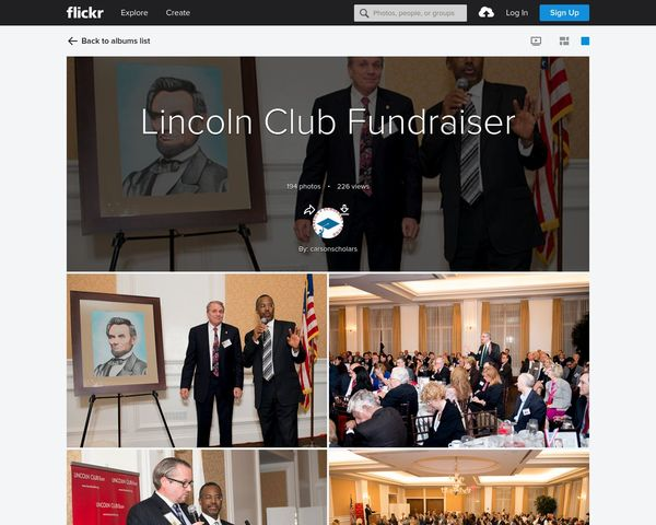 My Lincoln Art at the Lincoln Club Dinner with Dr. Benjamin Carson in 2013